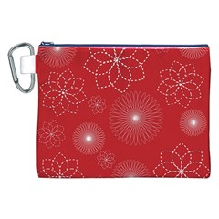 Floral Spirals Wallpaper Background Red Pattern Canvas Cosmetic Bag (xxl) by Simbadda