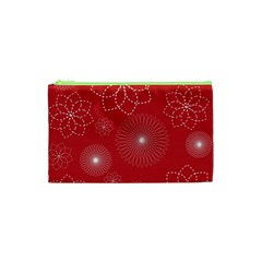 Floral Spirals Wallpaper Background Red Pattern Cosmetic Bag (xs) by Simbadda