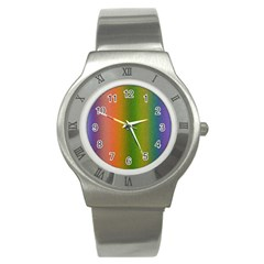 Colorful Stipple Effect Wallpaper Background Stainless Steel Watch by Simbadda