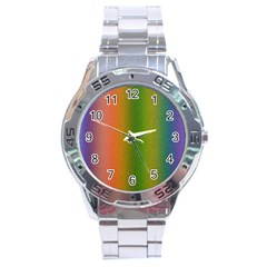 Colorful Stipple Effect Wallpaper Background Stainless Steel Analogue Watch by Simbadda