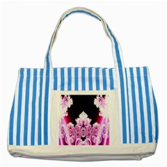 Fractal In Pink Lovely Striped Blue Tote Bag by Simbadda