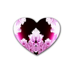 Fractal In Pink Lovely Rubber Coaster (heart)  by Simbadda