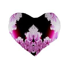 Fractal In Pink Lovely Standard 16  Premium Heart Shape Cushions