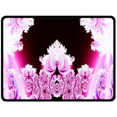 Fractal In Pink Lovely Double Sided Fleece Blanket (large)  by Simbadda