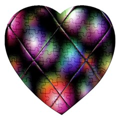 Soft Balls In Color Behind Glass Tile Jigsaw Puzzle (heart) by Simbadda