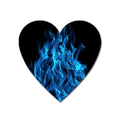Digitally Created Blue Flames Of Fire Heart Magnet by Simbadda