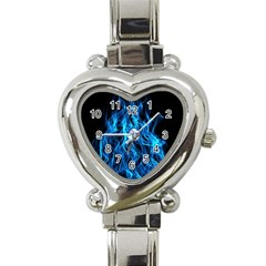 Digitally Created Blue Flames Of Fire Heart Italian Charm Watch by Simbadda