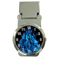 Digitally Created Blue Flames Of Fire Money Clip Watches by Simbadda