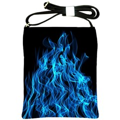 Digitally Created Blue Flames Of Fire Shoulder Sling Bags by Simbadda