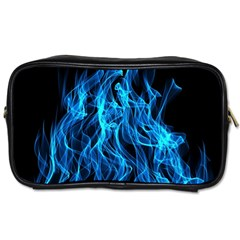 Digitally Created Blue Flames Of Fire Toiletries Bags by Simbadda