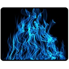 Digitally Created Blue Flames Of Fire Fleece Blanket (medium)  by Simbadda