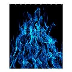 Digitally Created Blue Flames Of Fire Shower Curtain 60  X 72  (medium)  by Simbadda