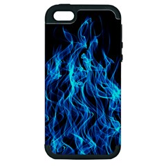 Digitally Created Blue Flames Of Fire Apple Iphone 5 Hardshell Case (pc+silicone) by Simbadda