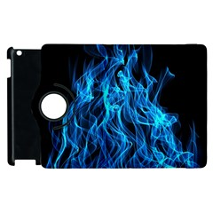 Digitally Created Blue Flames Of Fire Apple Ipad 3/4 Flip 360 Case by Simbadda