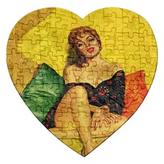 Pin Up Girl  Jigsaw Puzzle (heart) by Valentinaart
