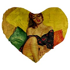 Pin Up Girl  Large 19  Premium Flano Heart Shape Cushions by Valentinaart