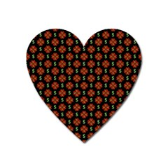 Dollar Sign Graphic Pattern Heart Magnet by dflcprints