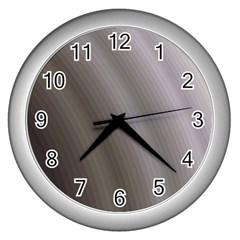 Fractal Background With Grey Ripples Wall Clocks (silver)  by Simbadda