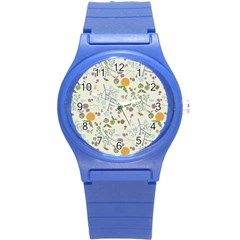 Floral Kraft Seamless Pattern Round Plastic Sport Watch (s) by Simbadda