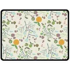 Floral Kraft Seamless Pattern Double Sided Fleece Blanket (large)  by Simbadda