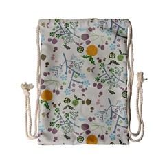Floral Kraft Seamless Pattern Drawstring Bag (small) by Simbadda