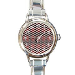 Squares Red Background Round Italian Charm Watch by Simbadda