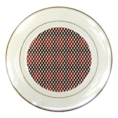 Squares Red Background Porcelain Plates by Simbadda