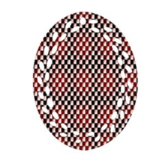 Squares Red Background Oval Filigree Ornament (two Sides) by Simbadda
