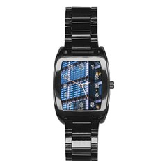 Modern Business Architecture Stainless Steel Barrel Watch by Simbadda
