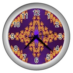 Something Different Fractal In Orange And Blue Wall Clocks (silver)  by Simbadda