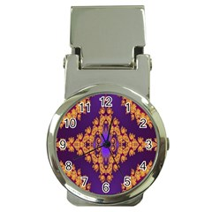Something Different Fractal In Orange And Blue Money Clip Watches by Simbadda