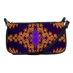 Something Different Fractal In Orange And Blue Shoulder Clutch Bags by Simbadda