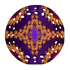 Something Different Fractal In Orange And Blue Round Filigree Ornament (two Sides)