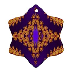 Something Different Fractal In Orange And Blue Snowflake Ornament (two Sides) by Simbadda