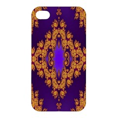 Something Different Fractal In Orange And Blue Apple Iphone 4/4s Premium Hardshell Case by Simbadda