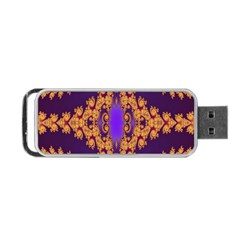 Something Different Fractal In Orange And Blue Portable Usb Flash (two Sides) by Simbadda