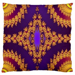 Something Different Fractal In Orange And Blue Large Flano Cushion Case (two Sides) by Simbadda