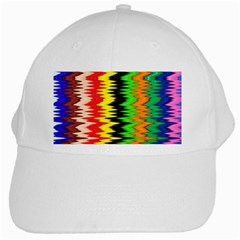 Colorful Liquid Zigzag Stripes Background Wallpaper White Cap by Simbadda