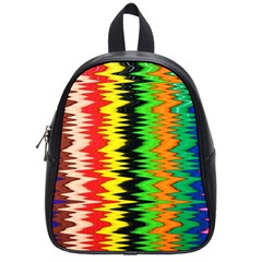 Colorful Liquid Zigzag Stripes Background Wallpaper School Bags (small)  by Simbadda