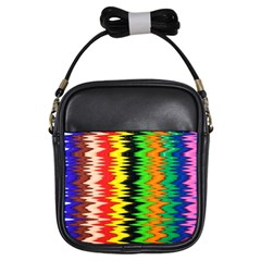 Colorful Liquid Zigzag Stripes Background Wallpaper Girls Sling Bags by Simbadda