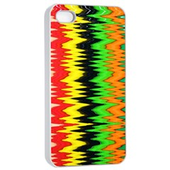 Colorful Liquid Zigzag Stripes Background Wallpaper Apple Iphone 4/4s Seamless Case (white) by Simbadda