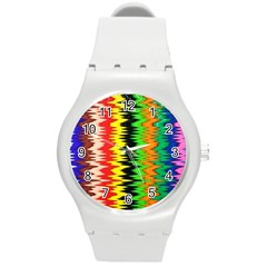 Colorful Liquid Zigzag Stripes Background Wallpaper Round Plastic Sport Watch (m) by Simbadda