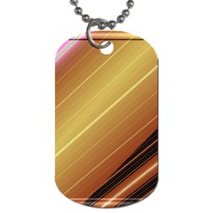 Diagonal Color Fractal Stripes In 3d Glass Frame Dog Tag (one Side) by Simbadda