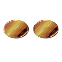 Diagonal Color Fractal Stripes In 3d Glass Frame Cufflinks (oval) by Simbadda