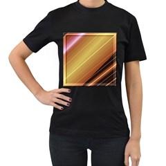 Diagonal Color Fractal Stripes In 3d Glass Frame Women s T Shirt (black)
