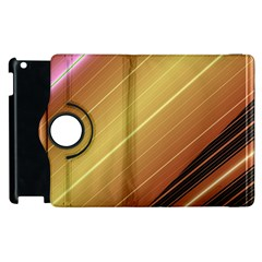 Diagonal Color Fractal Stripes In 3d Glass Frame Apple Ipad 3/4 Flip 360 Case by Simbadda