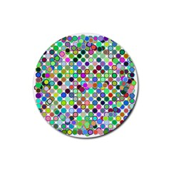 Colorful Dots Balls On White Background Rubber Round Coaster (4 Pack)  by Simbadda