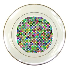 Colorful Dots Balls On White Background Porcelain Plates by Simbadda