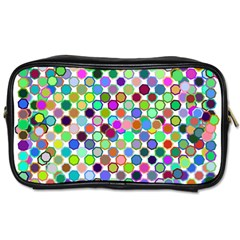 Colorful Dots Balls On White Background Toiletries Bags by Simbadda