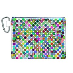 Colorful Dots Balls On White Background Canvas Cosmetic Bag (xl) by Simbadda